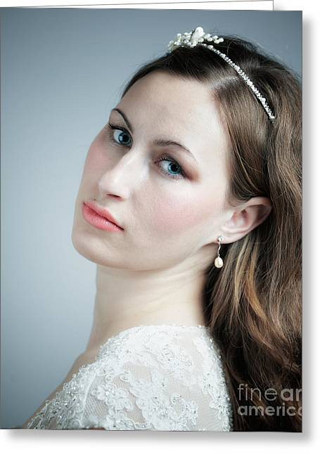 Attractiveness Greeting Cards - Portrait of young bride Greeting Card by Gabriela Insuratelu