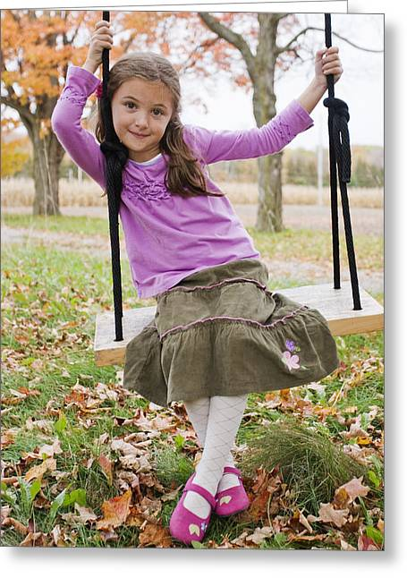Full Skirt Greeting Cards - Portrait Of Young Girl On Swing Greeting Card by Vast Photography