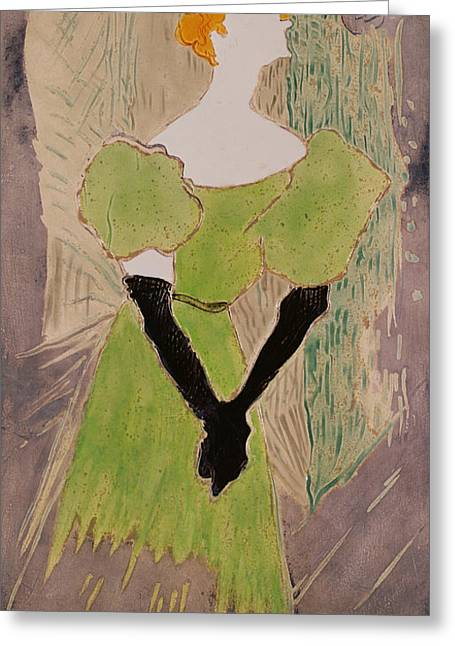 Faceless Greeting Cards - Portrait Of Yvette Guilbert Greeting Card by Henri de Toulouse-Lautrec