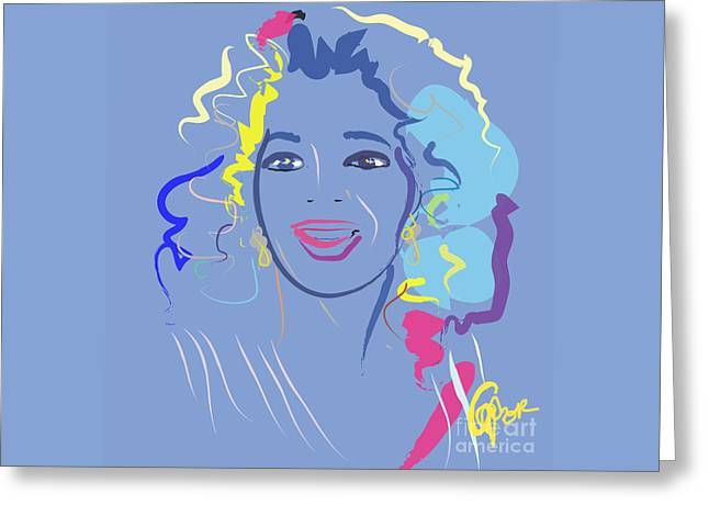 Celeb Greeting Cards - portrait people Oprah in color purple Greeting Card by Go Van Kampen