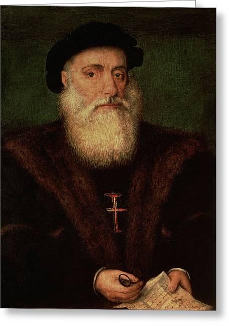 Fur Trim Greeting Cards - Portrait Presumed To Be Of Vasco Da Gama 1469-1524 C.1524 Greeting Card by Portuguese School