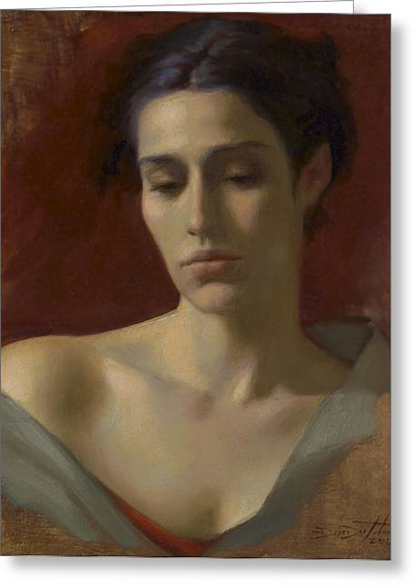 Sienna Italy Greeting Cards - Portrait Study for Spring Rain Greeting Card by Deirdre West