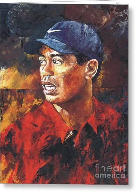 Christiaan Bekker Greeting Cards - Portrait - Tiger Woods Greeting Card by Christiaan Bekker
