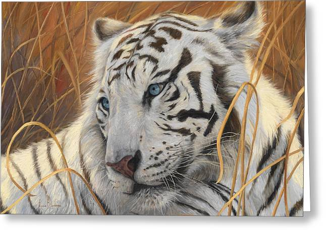 Tiger Greeting Cards - Portrait White Tiger 1 Greeting Card by Lucie Bilodeau