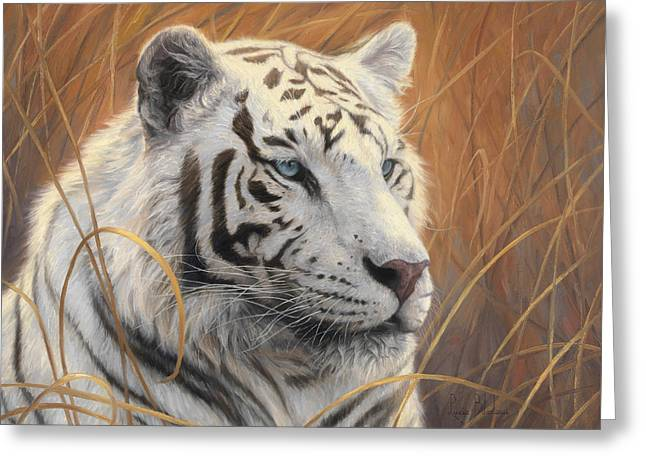 Tigers Greeting Cards - Portrait White Tiger 2 Greeting Card by Lucie Bilodeau