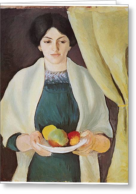 Apple Paintings Greeting Cards - Portrait with Apples Greeting Card by Auguste Macke
