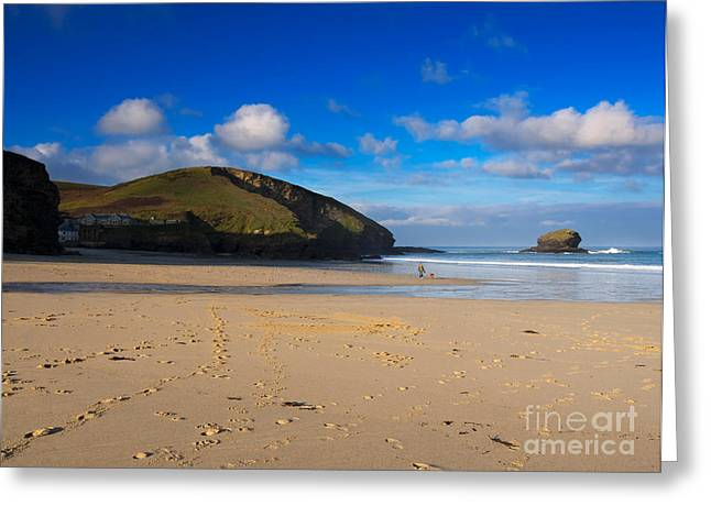 Walk On The Beach Greeting Cards - Portreath Cornwall Greeting Card by Louise Heusinkveld