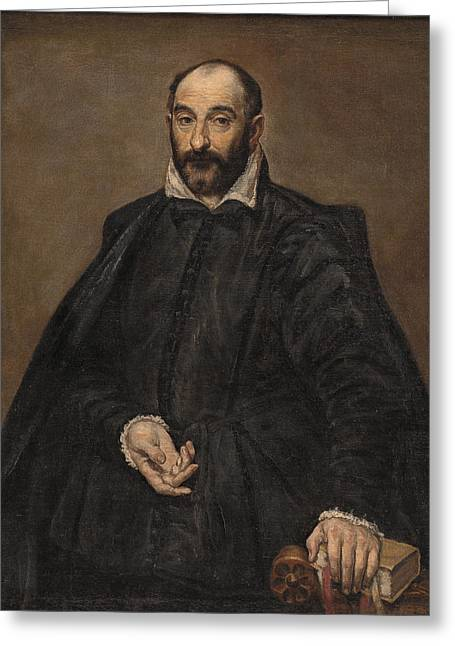 Bravery Greeting Cards - Portret van een man Greeting Card by El Greco