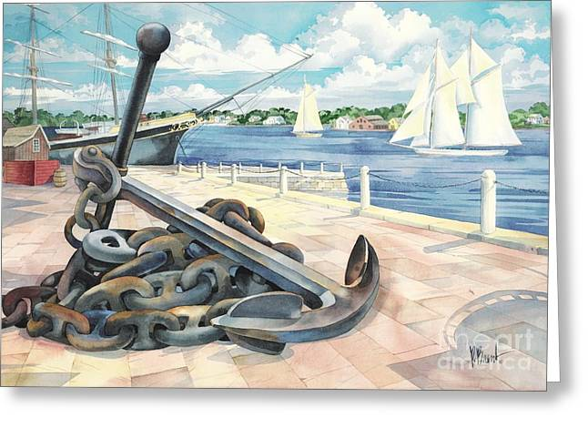 Sailboats Docked Greeting Cards - Portside anchor Greeting Card by Paul Brent