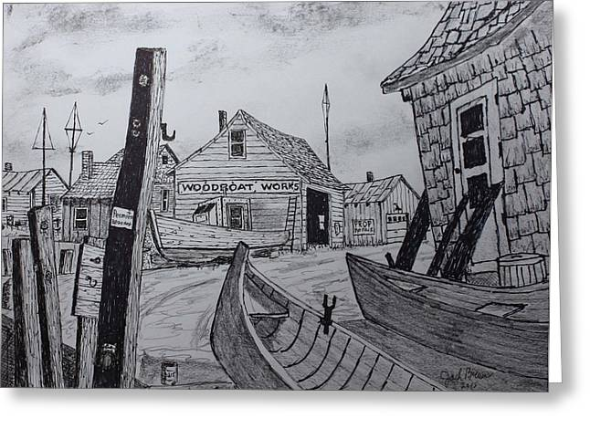 Repaired Drawings Greeting Cards - Portside Memories Greeting Card by Jack G  Brauer