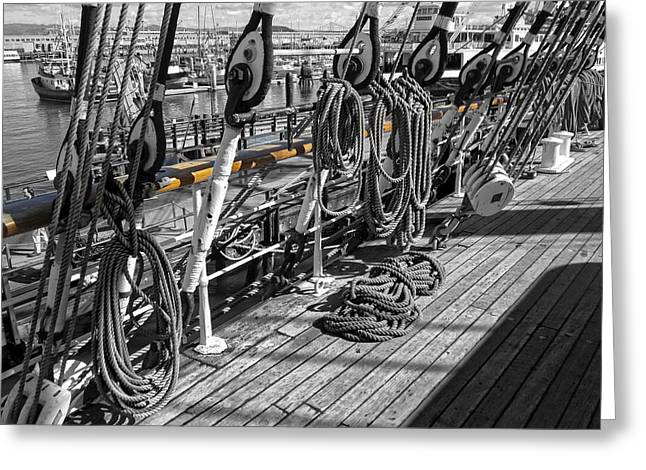 Boat Hardware Greeting Cards - PORTSIDE RAIL of THREE-MASTED SCHOONER - SAN FRANCISCO Greeting Card by Daniel Hagerman
