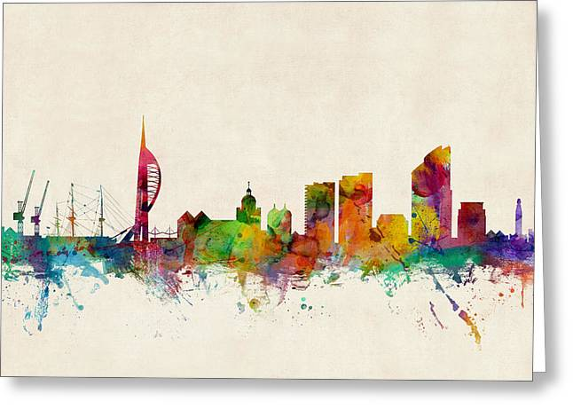 Cityscape Digital Art Greeting Cards - Portsmouth England Skyline Greeting Card by Michael Tompsett