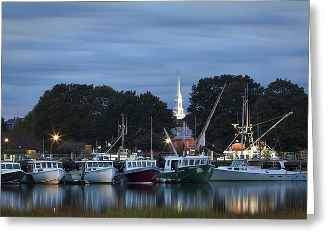 New England Village Scene Greeting Cards - Portsmouth Fish Pier Greeting Card by Eric Gendron