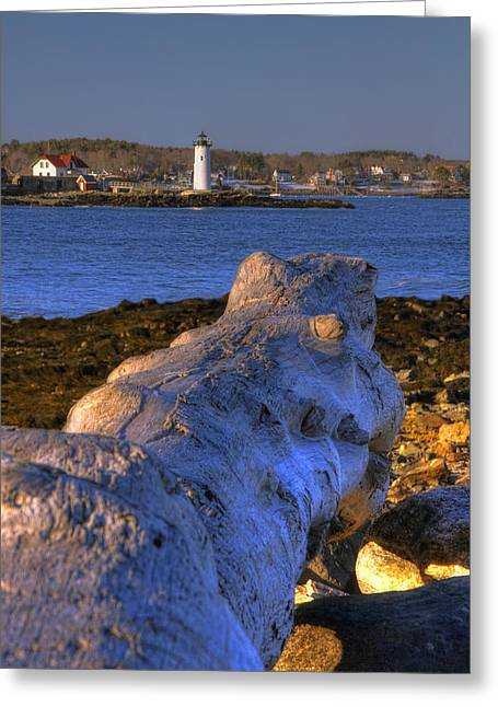 Square Format Greeting Cards - Portsmouth Harbor Light Greeting Card by Joann Vitali