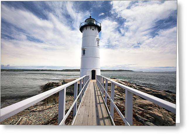 New England Lighthouse Greeting Cards - Portsmouth Harbor Lighthouse Greeting Card by Eric Gendron