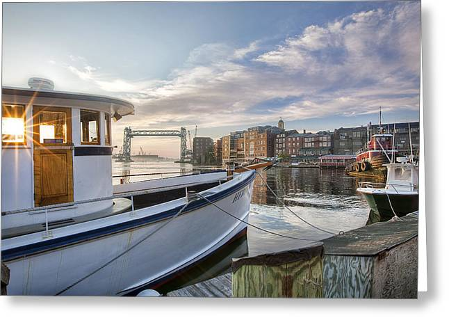 Portsmouth Harbor Sunrise Greeting Card by Eric Gendron