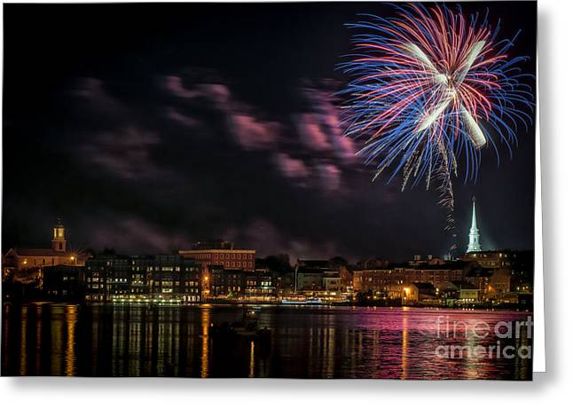 July 4th Photographs Greeting Cards - Portsmouth NH Fireworks 2013 Greeting Card by Scott Thorp