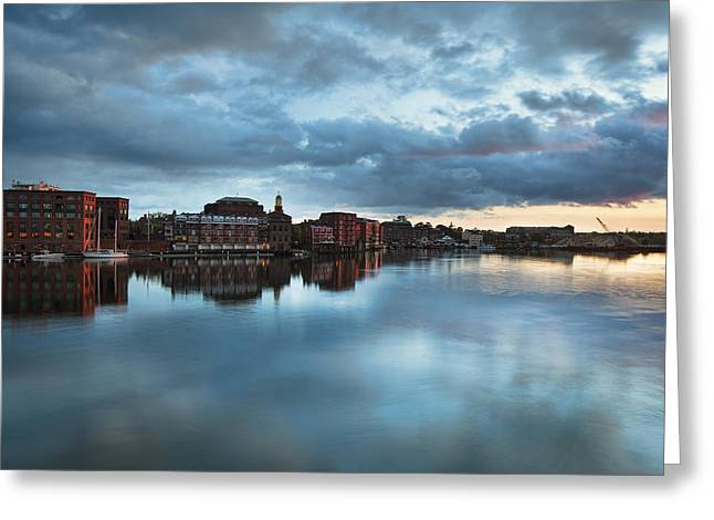 New England Village Greeting Cards - Portsmouth Skyline Sunset Greeting Card by Eric Gendron