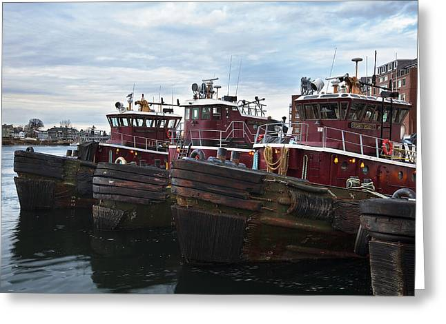 New England Coast Line Greeting Cards - Portsmouth Tugs Greeting Card by Eric Gendron