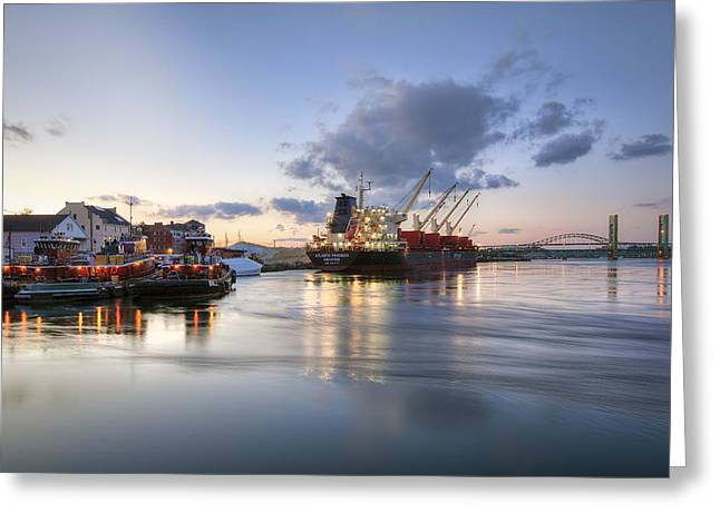Maine Shore Greeting Cards - Portsmouth Waterfront Greeting Card by Eric Gendron