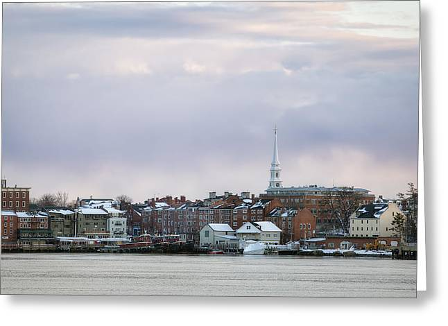 Best Sellers -  - New England Snow Scene Greeting Cards - Portsmouths Winter Skyline Greeting Card by Eric Gendron