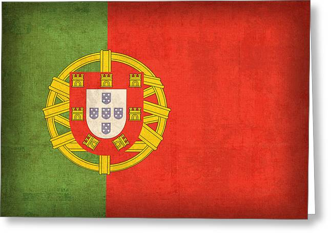 Europe Mixed Media Greeting Cards - Portugal Flag Vintage Distressed Finish Greeting Card by Design Turnpike