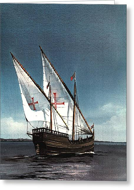 Portugal Paintings Greeting Cards - PORTUGAL  The Boa Esperanca Greeting Card by Val Byrne