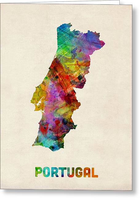 Portugal Greeting Cards - Portugal Watercolor Map Greeting Card by Michael Tompsett