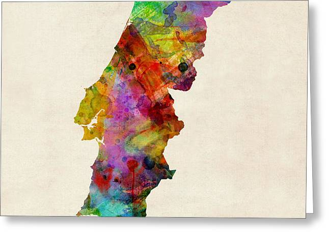 Portugal Watercolor Map Greeting Card by Michael Tompsett