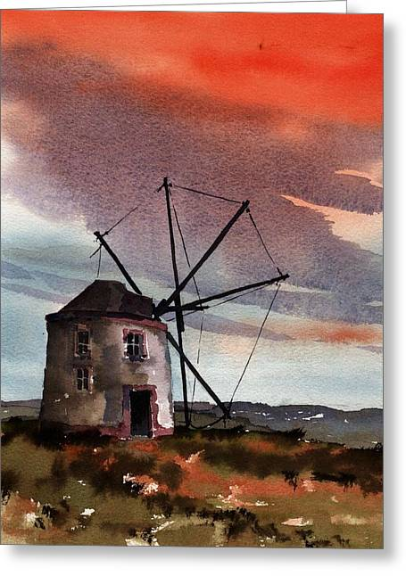 Portugal Paintings Greeting Cards - PORTUGAL  Windmill Red Sky Greeting Card by Val Byrne
