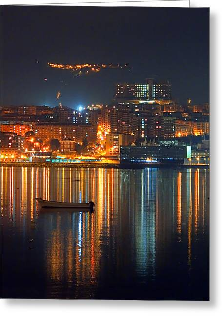 River View Greeting Cards - Portugalete At Night With City Lights And Reflections Greeting Card by Mikel Martinez de Osaba