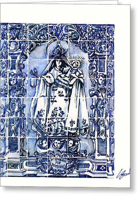 Portuguese Greeting Cards - Portuguese Blue and white tile Greeting Card by Yoshiharu Miyakawa