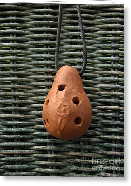 Red Clay Greeting Cards - Portuguese Terra Cotta Ocarina Greeting Card by Anna Lisa Yoder