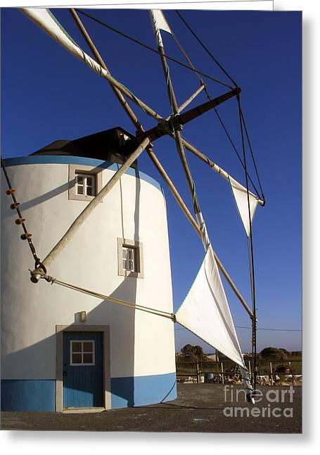 Grain Mill Greeting Cards - Portuguese Traditional Windmill Greeting Card by Jose Elias - Sofia Pereira