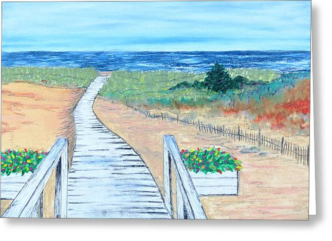 Painted Wood Pastels Greeting Cards - Portulaca Path Greeting Card by Daniel Dubinsky
