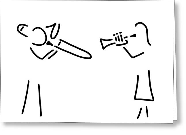 Posaunist Trumpet Player Brass Player Greeting Card by Lineamentum