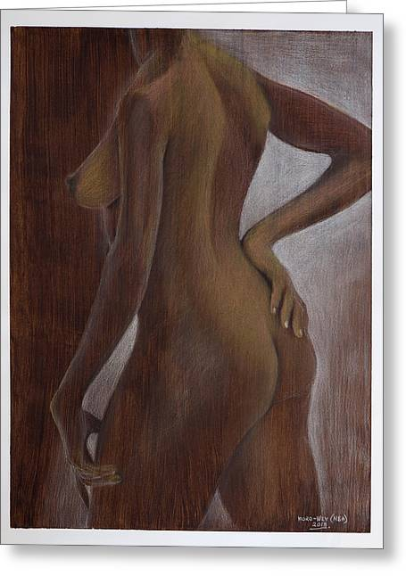Graphite Pastels Greeting Cards - Pose 1 Greeting Card by Billy Moro-Wey