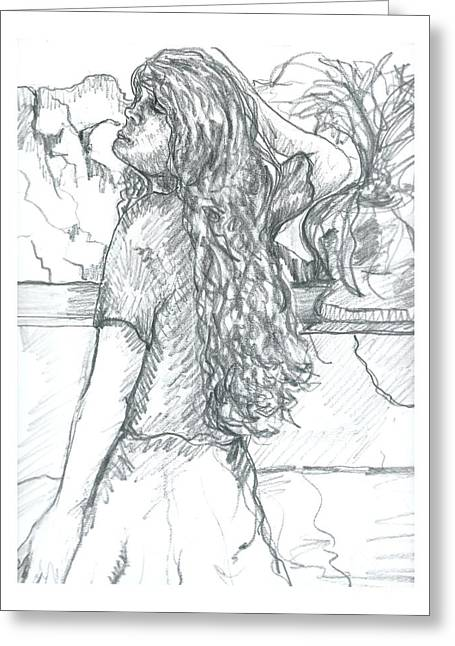 Clothed Figure Drawings Greeting Cards - Pose on the Patio Greeting Card by Joseph Wetzel