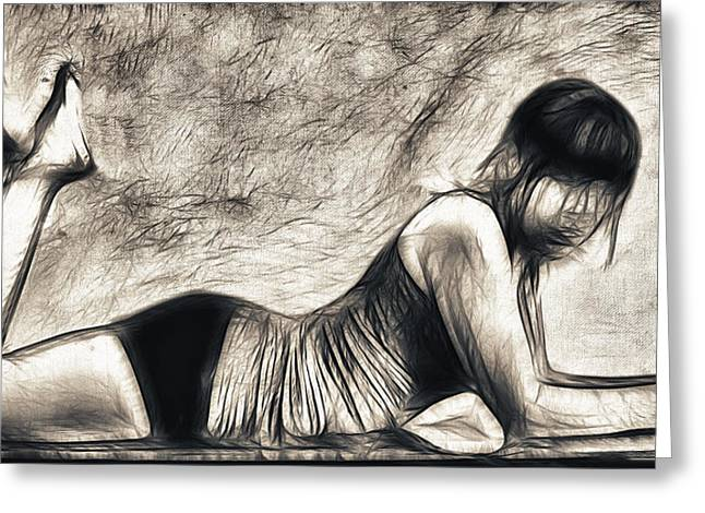 Figure Pose Greeting Cards - Pose one Greeting Card by Tilly Williams