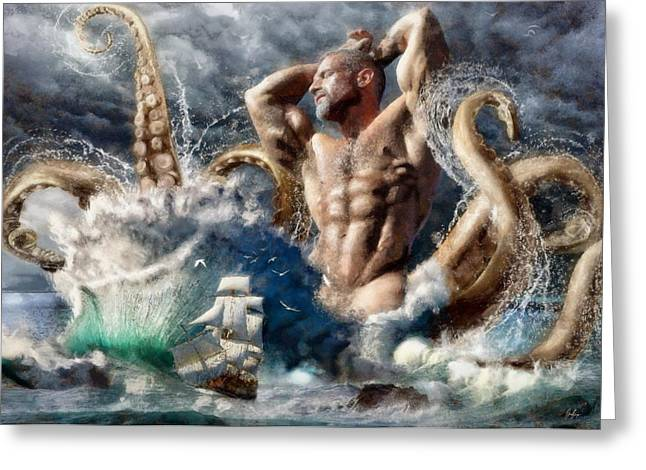 Bombelkie Greeting Cards - Poseidon Awakens Greeting Card by Marcin and Dawid Witukiewicz