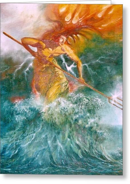 Gorecki Greeting Cards - Poseidon Greeting Card by Henryk Gorecki