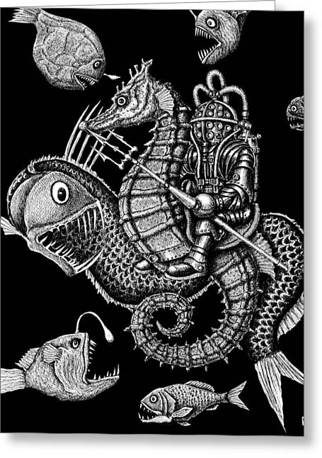 Pen And Ink Drawing Greeting Cards - Poseidon Greeting Card by Vitaliy Gonikman