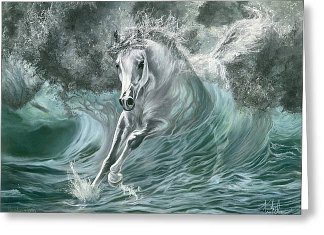 Sea Horse Pastels Greeting Cards - Poseidons Gift Greeting Card by Kim McElroy