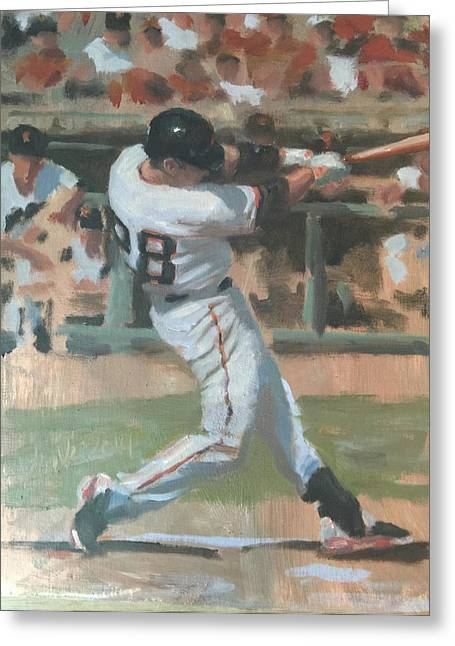 Baseball Paintings Greeting Cards - Posey Shot Greeting Card by Darren Kerr