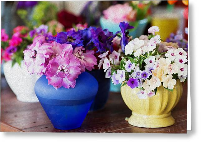 Potted Flowers Greeting Cards - Posies Greeting Card by Rebecca Cozart
