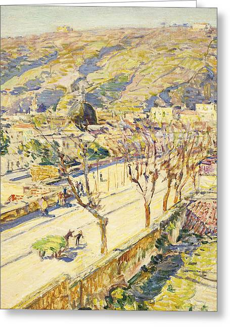 Hooved Mammal Greeting Cards - Posillipo Greeting Card by Childe Hassam