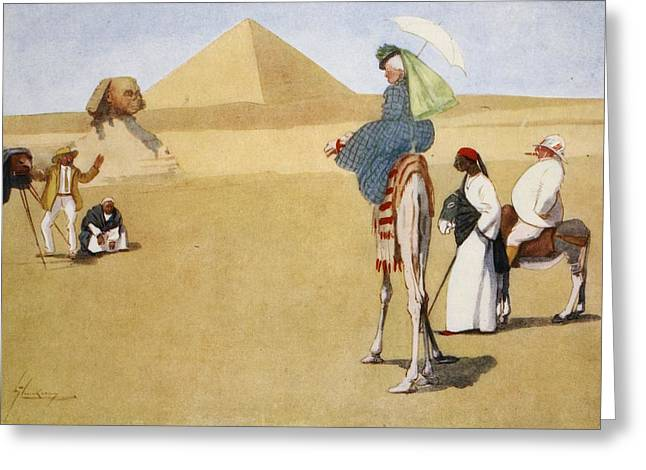 Photographs Drawings Greeting Cards - Posing At The Pyramids, From The Light Greeting Card by Lance Thackeray