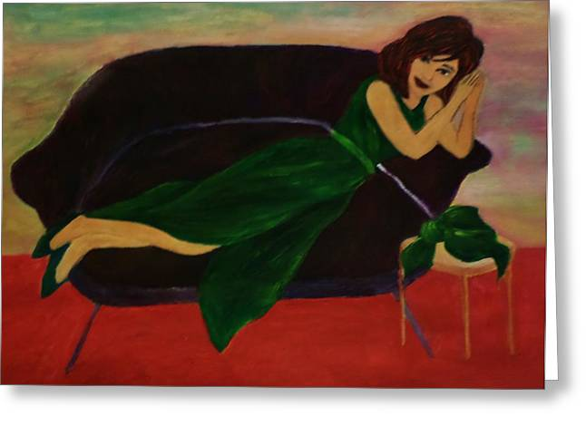 Lounge Paintings Greeting Cards - Posing Greeting Card by Christy Brammer