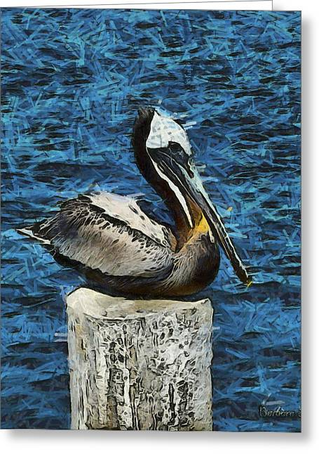 Stearns Wharf Greeting Cards - Posing Pelican Digital Greeting Card by Barbara Snyder