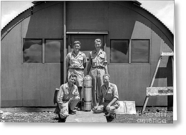 World War 2 Airmen Greeting Cards - Posing with Atomic Weapon Core Greeting Card by Brady Barrineau